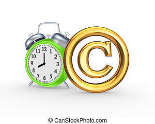 Green watch and symbol of copyright.Isolated on white.3d...