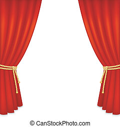 Realistic red velvet curtain