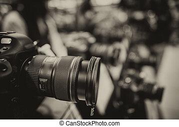 moderní, kamera, čočka,...