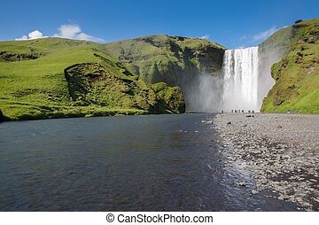 Skogafoss waterfall - skogafoss waterfall on the South of...