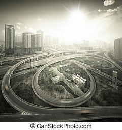 city cloverleaf junction in xian,China