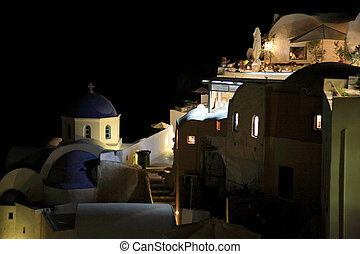 Santorini at night - The twinkling lights on Santorini at...