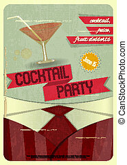 Cocktail Party - Retro card. Invitation to cocktail party in...