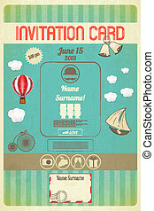 invitation card - Invitation card in retro style. Vector...