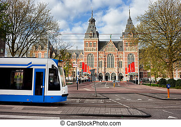 Rijksmuseum in the City of Amsterdam - Rijksmuseum and tram...