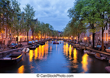 Canal in Amsterdam at Dusk - Tranquil evening by the canal...