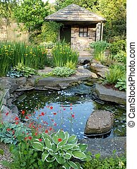 Water garden - A water garden with a small stone building,...