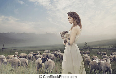 Sensual lady among sheeps - Sensual young lady among sheeps