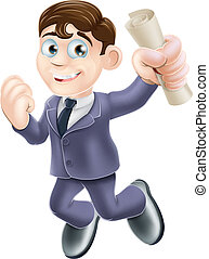 Happy businessman and scroll - Cartoon businessman with...