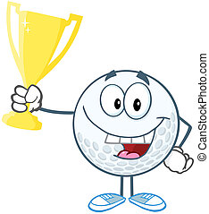 Happy Golf Ball Holding Trophy Cup