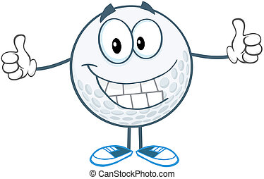 Smiling Golf Ball Giving A Thumb Up - Smiling Golf Ball...