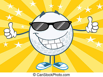 Smiling Golf Ball With Sunglasses - Smiling Golf Ball...