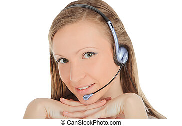Portrait of a successful young female call centre employee...