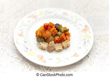 Plate of pickled vegetable