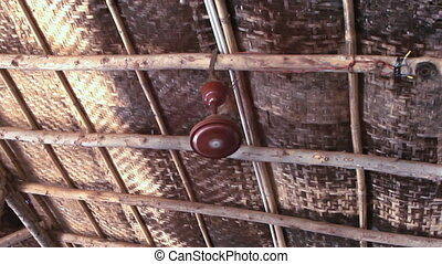 ceiling fan in a old wooden house