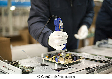 technician at work - Electronic technician at work