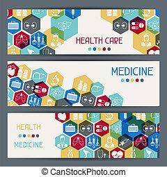 médico, salud, cuidado, horizontal, banderas