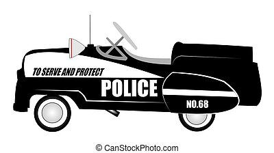 police pedal car from sixties