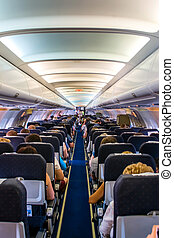 Interior airplane - Interior of a commercial airplane. No...