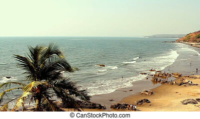 India Goa Vagator beach February 20, 2013 Seaside panorama...