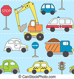 city traffic - Vector illustration of seamless pattern with...
