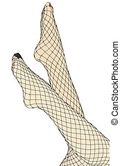 Feet and fishnet stockings
