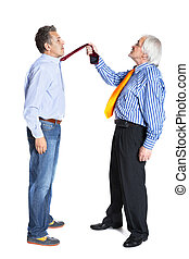 businessman pulling a tie to younger man on white background