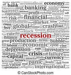Recession concept on white
