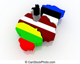 Map of Baltic states.