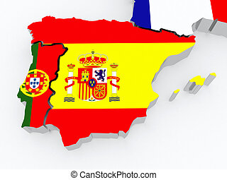 Map of Spain and Portugal. 3d
