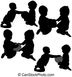 Childrens Games 03 - detailed silhouettes as illustrations