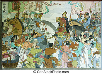 Chinese Mural - An ancient and colorful Chinese mural of...