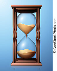 Hourglasses. - Hourglasses with transparent glass on blue...
