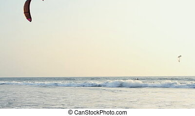 INDIA GOA Arambol beach February 21, 2013 Kiteboarder enjoy...