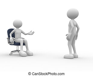 Dialogue - 3d people - men, person talking Employee and...