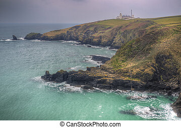 Lizard Point and lighthouse, the most Southerly point in...