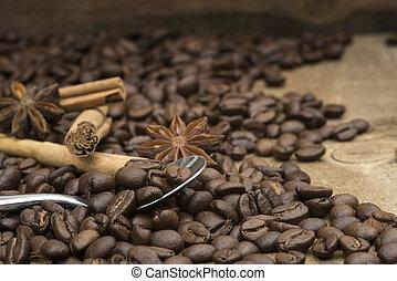 de madera, café, frijoles, Cuchara, Plano de fondo