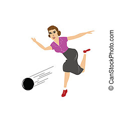 lady bowling  - woman throwing bowling ball in game