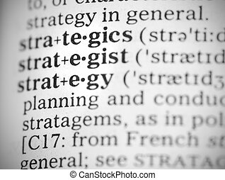 Macro image of dictionary definition of strategy