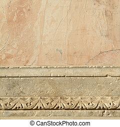 pink and white antique marble decorative border, Florence,...