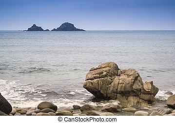 Beautiful landscpae of Porth Nanven beach Cornwall England