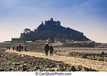 Landscape of Path revealed at low tide to St Michaels Mount...