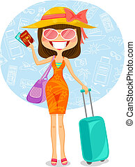 traveling woman - woman traveling to tropical destination