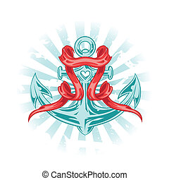 Vector Tattoo Anchor - Vector illustration in tattoo style....