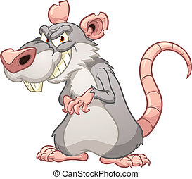 Evil rat - Evil cartoon rat. Vector clip art illustration...