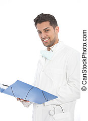 Confident young male doctor with a file