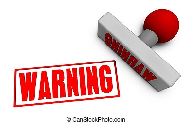 Warning Stamp or Chop on Paper Concept in 3d