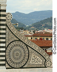 landscape in Florence - architectural detail of famous...