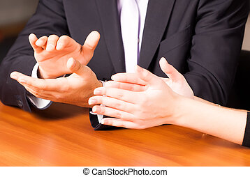 clapping hands in office - Close up clapping hands of...