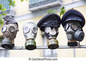 Gas masks - Set of gas masks from the second world war